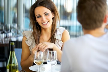 Gorgeous Woman Smiling at Her Date