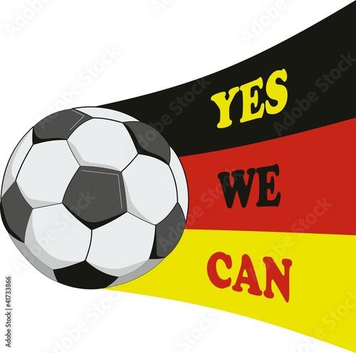 Yes We Can Motivation Flagge Deutschland Fussball Stock