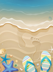 Wall Mural - Summer holiday background with footprints