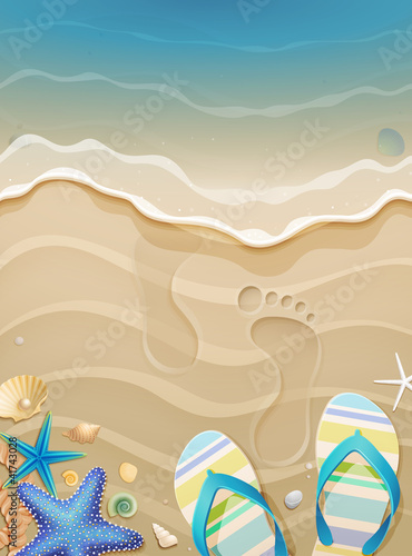 Wall mural Summer holiday background with footprints