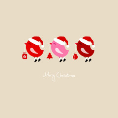 3 Red Flying Birds Holding Christmas Symbols