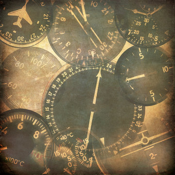 Vintage military background, aircraft instruments