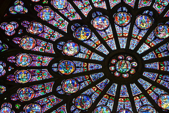 Beautiful stained glass window in Notre Dame