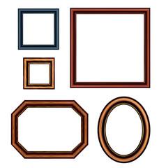 Set of vintage brown picture frames. Vector