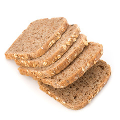 Healthy bran bread slices with rolled oats