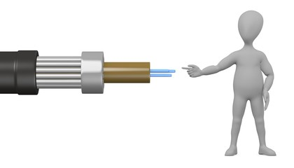 3d render of cartoon character with cable