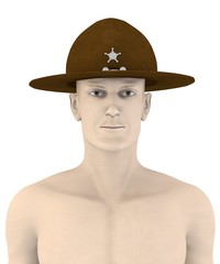 3d render of artifical male inb campaign hat