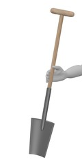 3d render of cartoon character with farming tool