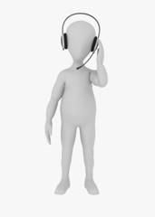 3d render of cartoon character with headphones