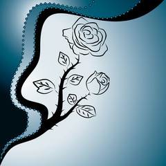 abstract blue background with roses, vector illustration