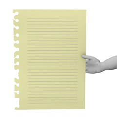 3d render of cartoon character with piece of paper
