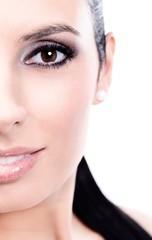 Closeup half portrait of beautiful smiling woman