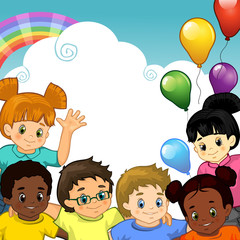 Aluminium Prints Rainbow Bambini arcobaleno insieme-Rainbow Children together