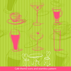 Cafe icons and seamless pattern