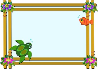 Wooden Frame with Flowers, Turtle, and Fish
