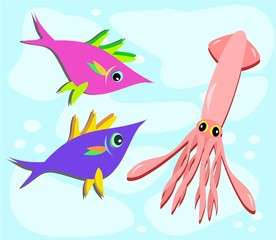 Two Fish and a Squid