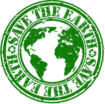 save the earth rubber stamp, vector illustration