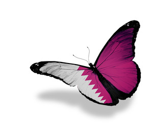 Qatari flag butterfly flying, isolated on white background