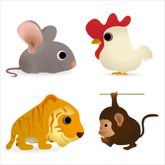 Set of four funny animals - mouse, cock, tiger, monkey