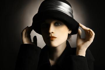 Woman in vintage hat