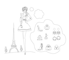 Self adhesive Wall Murals Doodle Paris fashion doodles set