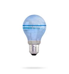 light bulb with sea inside