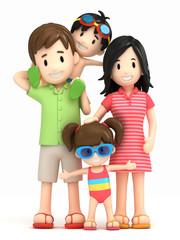 3d render of a family in swim wear