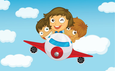 Photo sur Aluminium Avion, ballon Kids on a plane