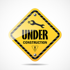 Under construction sign black and yellow, vector