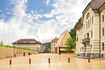The building of parliaments of Liechtenstein on the main square. Wall mural