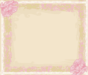 Grunge Frame For Congratulation With Flower