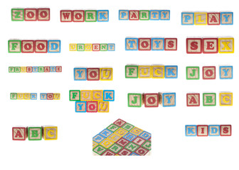 Set of words from wooden cubes