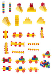 Colorful pices of constructor plastic bricks