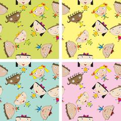 Set of children pattern with kids