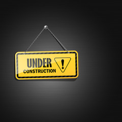 Under construction sign hanging with chain, vector