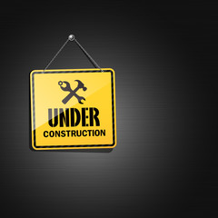 Under construction sign hanging with chain,  illustration