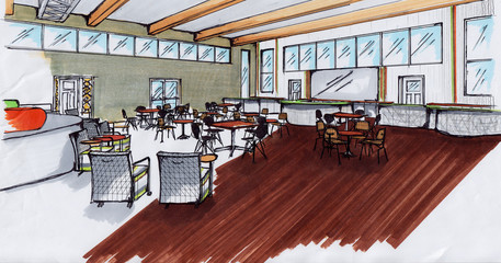Concept Lounge Entertainment - Hand Rendering