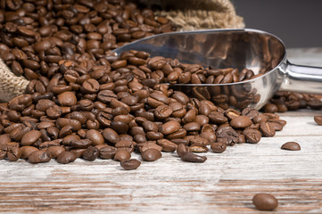 Scoop of coffee crops with space for your text