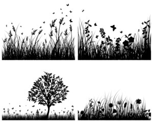 meadow silhouette set