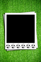 Photoframe with soccer  ball on artificial grass field texture
