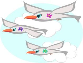 Three Seagulls Flying
