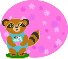 Raccoon with a Cupcake
