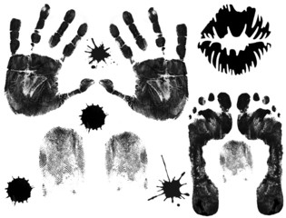 Foot, finger, lips and hand prints