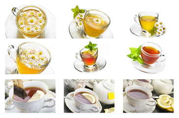 Collage of chamomille and tea