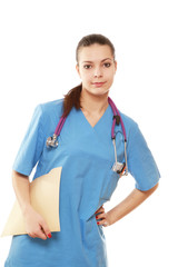 A female doctor with a folder