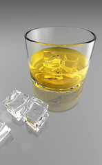 A glass of liquor with ice