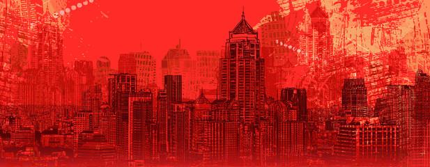 Photo sur Aluminium Art Studio Panoramic view of a modern city
