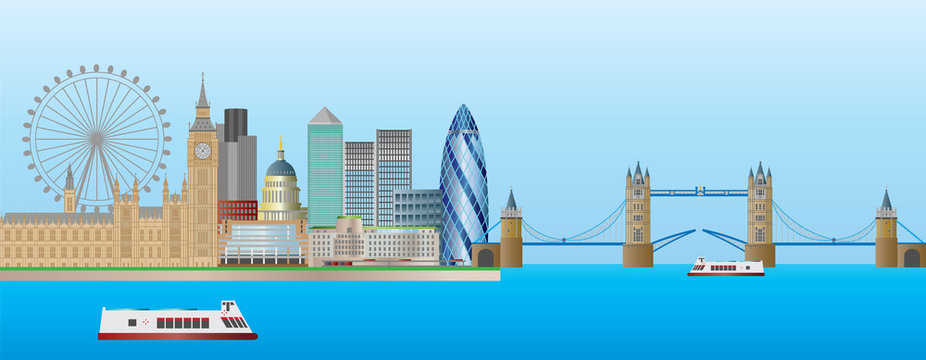 London Skyline Panorama Illustration