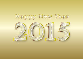 new year 2015 golden with diamonds