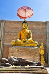 buddha image at Wat Bot don phrom ,Nonthaburi,Thailand